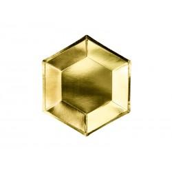 6 Assiettes géométrique dorés - 20cm