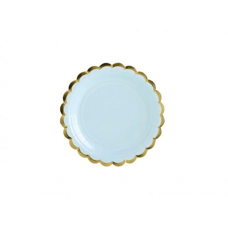 6 Assiettes bleu ciel et or - 18cm