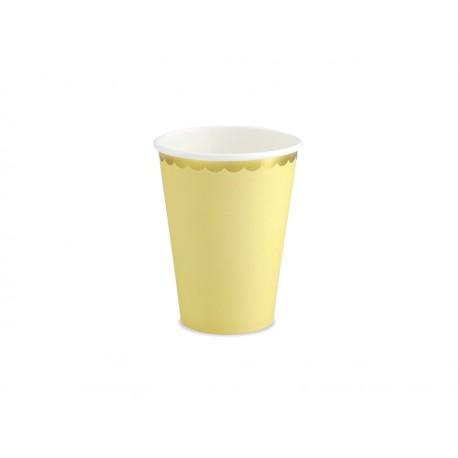 6 Gobelets jaunes et festons dorés