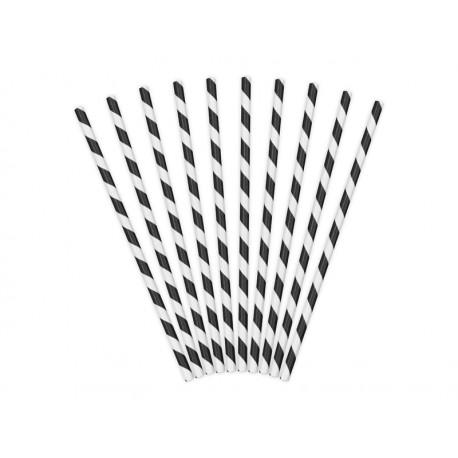 10 Pailles à rayures noires