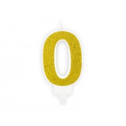 Bougie chiffre paillettes dorées