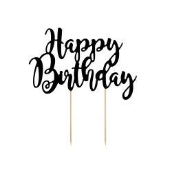 "Cake topper noir ""happy birthday"""