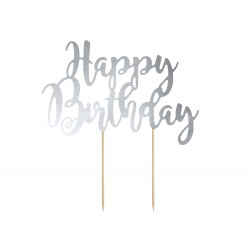 "Cake topper argenté ""happy birthday"""