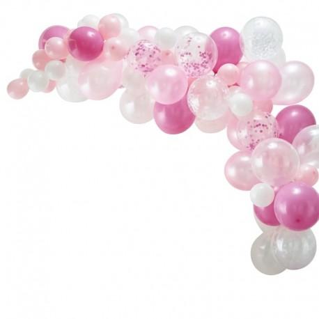 Guirlande de ballons roses et blancs - 70 ballons