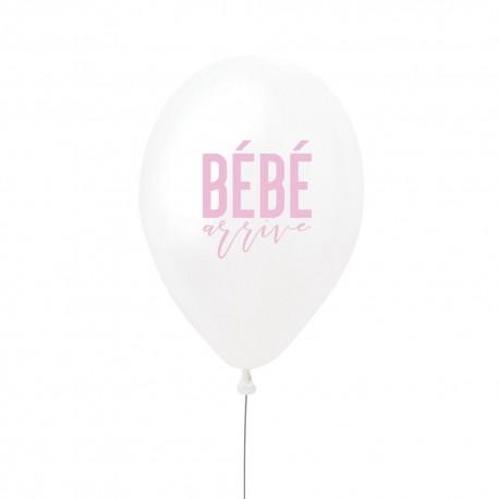 """Ballon rose """"bébé arrive"""" - 27cm"""
