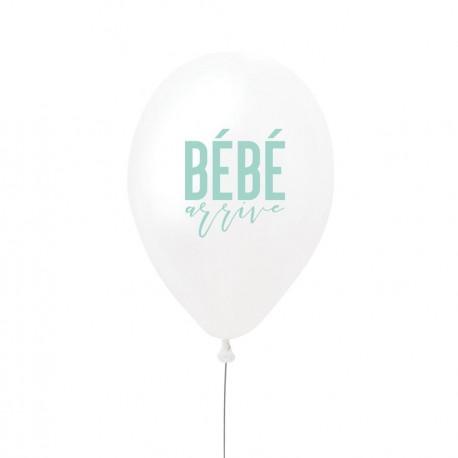"""Ballon """"bébé arrive"""" - menthe"""
